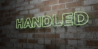 HANDLED - Glowing Neon Sign on stonework wall - 3D rendered royalty free stock illustration. Can be used for online banner ads and direct mailers vector illustration