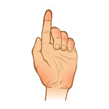 Handleineskizze eine Hand mit einer angehobenen Zeigefingergeste Stockfoto