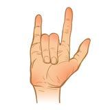 Handleineskizze Eine Hand Rockmusik-Geste gemalter Arm VE Stockfoto