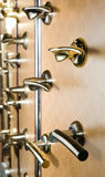 Handles. Modern handles exposed for sale Royalty Free Stock Photo