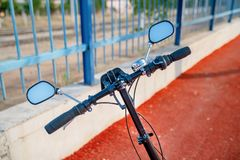 Handles of a beautiful bicycle stock photo