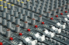 Handles of management of the sound processor. Operator's console of a sound recording Royalty Free Stock Image