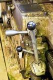 Handles of metal lathe machine close up Stock Photos