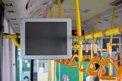 Handles passenger inside a bus Stock Image