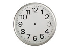 Handless clock. Clock face without the hands isolated on white background Royalty Free Stock Photos