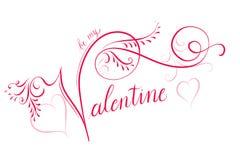Handlettered书法印刷术为Valentine's天 库存照片