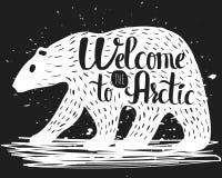 Handlettering affisch för tappning på ämnet av turism Konturn av en isbjörn med en text om inbjudan till royaltyfri illustrationer
