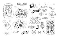 Handlettering elements, quotes and words Stock Photos