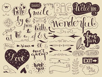 Handlettering elements and words Stock Photos