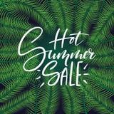 Handlettering Fahne des heißen Sommerschlussverkaufs, Plakat mit Palmblattrahmen stock abbildung