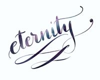 Flourished lettering eternity with galaxy background. Handlettering with galaxy background, word eternity for decoration and websites, fantasy ornament Royalty Free Stock Images