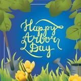 Handlettering Postkarte der glücklichen Tag des Baums-Kalligraphie Lizenzfreies Stockfoto