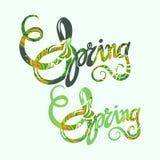 Handlettering spring inscription pattern Stock Photos