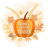 Handlettering thanksgiving dinner invitation design. Handlettering typography poster with custom hand drawn calligraphy quote `Thanksgiving Dinner` and colorful Stock Photos