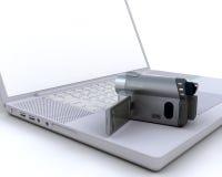handlicher Nocken 3D über einem Laptop lizenzfreie abbildung