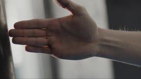 Handling av manställing i vakt gömma i handflatan förbi i karatestil, slut upp materiel Man som stås i kampsportposition stock video
