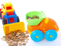 Handling of coins in the truck Stock Photography