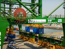 Handling containers in the port of Mumbai stock photos