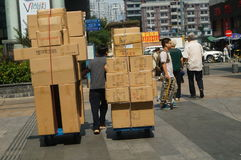Handling of goods, in Shenzhen Huaqiang North Commercial Street Royalty Free Stock Photo