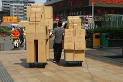 Handling of goods, in Shenzhen Huaqiang North Commercial Street Stock Photo