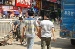 Handling of goods, in Shenzhen Huaqiang North Commercial Street Royalty Free Stock Images