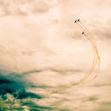 Handling i himlen under en airshow Royaltyfri Fotografi