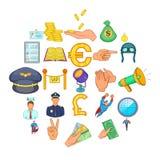 Handling icons set, cartoon style. Handling icons set. Cartoon set of 25 handling vector icons for web isolated on white background Stock Photos