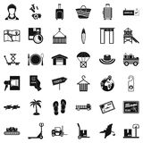 Handling icons set, simple style. Handling icons set. Simple set of 36 handling vector icons for web isolated on white background Royalty Free Stock Photography