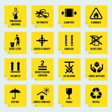 Handling and packing symbols. Handling and packing yellow stickers set with temperature limitation flammable no stack symbols isolated vector illustration Royalty Free Stock Photography