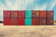 Handling stack of container shipping, Transportation business, Container storage. Royalty Free Stock Photo