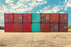 Handling stack of container shipping, Transportation business. Royalty Free Stock Photos