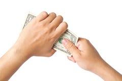 Handling us money Royalty Free Stock Photography