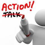 Handling Vs samtalmanhandstil uttrycker att korsa ut bästa strategi Acti Royaltyfri Foto