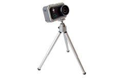 Handlingkamera på tripoden fotografering för bildbyråer
