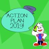 Handlingsplan 2019 för ordhandstiltext Affärsidé för föreslågen strategi eller kurs av handlingar för Smiley för aktuellt år royaltyfri illustrationer