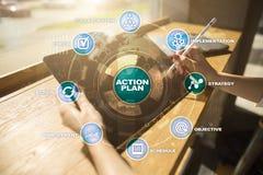 Handlingsplan på den faktiska skärmen bildplanläggningen för begreppet 3d framförde Fokusen är endast på ordaffärsstrategin, i re Arkivfoto