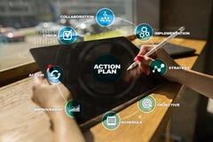 Handlingsplan på den faktiska skärmen bildplanläggningen för begreppet 3d framförde Fokusen är endast på ordaffärsstrategin, i re Royaltyfria Foton