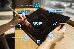 Handlingsplan på den faktiska skärmen bildplanläggningen för begreppet 3d framförde Fokusen är endast på ordaffärsstrategin, i re Arkivbilder