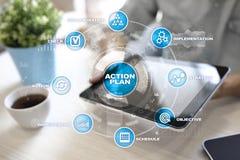 Handlingsplan på den faktiska skärmen bildplanläggningen för begreppet 3d framförde Fokusen är endast på ordaffärsstrategin, i re Fotografering för Bildbyråer