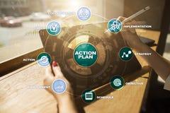 Handlingsplan på den faktiska skärmen bildplanläggningen för begreppet 3d framförde Fokusen är endast på ordaffärsstrategin, i re Arkivfoton