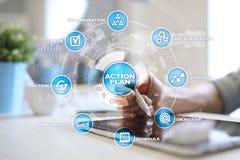 Handlingsplan på den faktiska skärmen bildplanläggningen för begreppet 3d framförde Fokusen är endast på ordaffärsstrategin, i re Royaltyfria Bilder