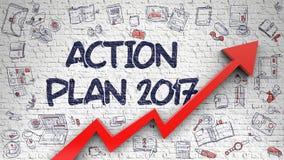 Handlingsplan 2017 som är utdragen på tegelstenväggen Arkivfoton