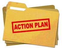 Handlingsplan som stämplas på nedfläckad mappmapp Arkivfoton