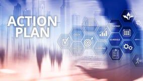 Handlingsplanstrategi som planerar visionriktning stock illustrationer