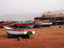 Artisanal wooden fishing boats in Sao Vicente, one of the Cape Verde islands royalty free stock images