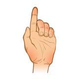 Handlinjen skissar en hand med en lyftt pekfingergest Vektor Illustrationer