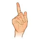 Handlinjen skissar hand en peka för gest målad arm Vect Stock Illustrationer