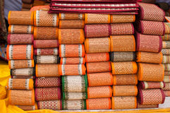 Handloom textile mats Stock Photo