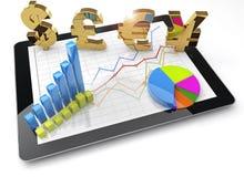 Handlować wykazywać tendencję w wymiana walut rynku royalty ilustracja
