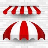 Handlowe baldachim markizy serie Wektorowy Strzela W górę sklepu Pasiaste markizy Projekta element dla plakata, sztandar, Reklamu ilustracji